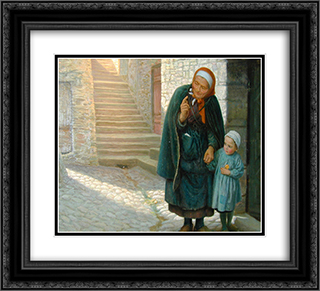 Old Neighbor Gone Bye 22x20 Black or Gold Ornate Framed and Double Matted Art Print by Arthur Hughes