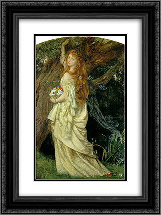 Ophelia 18x24 Black or Gold Ornate Framed and Double Matted Art Print by Arthur Hughes
