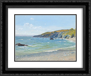 Perran Point - Cornwall 24x20 Black or Gold Ornate Framed and Double Matted Art Print by Arthur Hughes