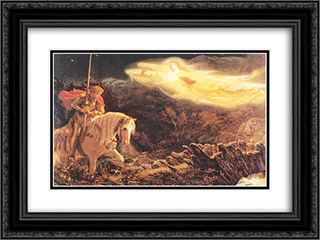 Sir Galahad - the Quest of the Holy Grail 24x18 Black or Gold Ornate Framed and Double Matted Art Print by Arthur Hughes