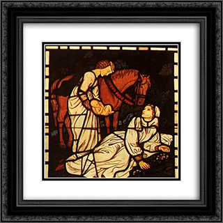 The Birth of Tristan, from 'The Story of Tristan and Isolde' 20x20 Black or Gold Ornate Framed and Double Matted Art Print by Arthur Hughes