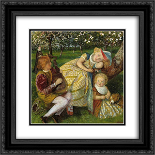 The King's Orchard 20x20 Black or Gold Ornate Framed and Double Matted Art Print by Arthur Hughes