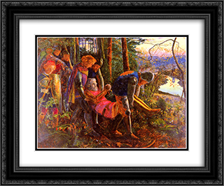 The Knight of the Sun 24x20 Black or Gold Ornate Framed and Double Matted Art Print by Arthur Hughes