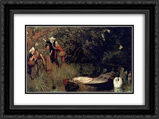 The Lady of Shalott 24x18 Black or Gold Ornate Framed and Double Matted Art Print by Arthur Hughes