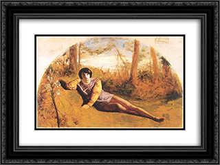 The Young Poet 24x18 Black or Gold Ornate Framed and Double Matted Art Print by Arthur Hughes