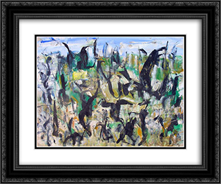 Untitled Landscape, Woodstock (No.D153) 24x20 Black or Gold Ornate Framed and Double Matted Art Print by Arthur Pinajian