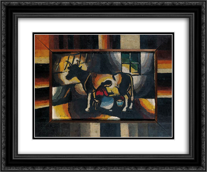 Die Melkerin 24x20 Black or Gold Ornate Framed and Double Matted Art Print by Arthur Segal