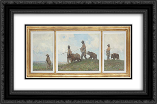 Bear Leaders 24x16 Black or Gold Ornate Framed and Double Matted Art Print by Arthur Verona