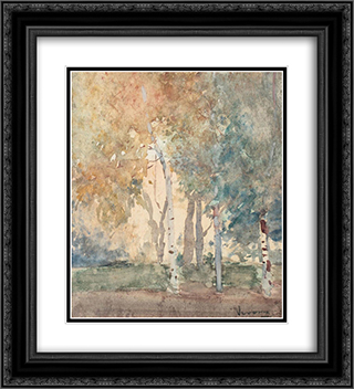 Birch Forest 20x22 Black or Gold Ornate Framed and Double Matted Art Print by Arthur Verona