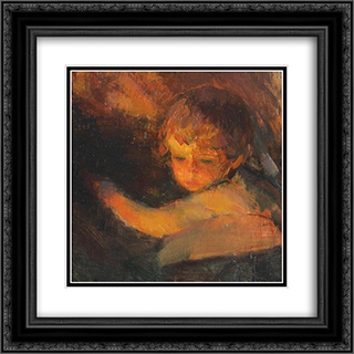 Child (Study) 20x20 Black or Gold Ornate Framed and Double Matted Art Print by Arthur Verona