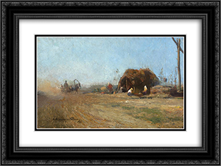 Country Road 24x18 Black or Gold Ornate Framed and Double Matted Art Print by Arthur Verona