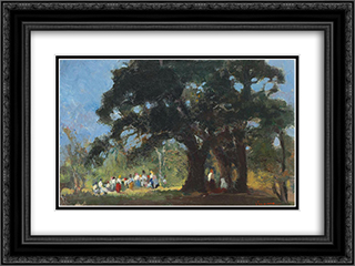 Field Festivity 24x18 Black or Gold Ornate Framed and Double Matted Art Print by Arthur Verona
