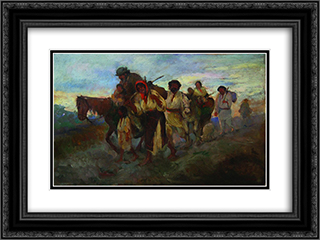 Gipsy Tent 24x18 Black or Gold Ornate Framed and Double Matted Art Print by Arthur Verona