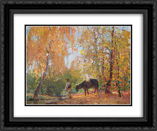 In the Forest 24x20 Black or Gold Ornate Framed and Double Matted Art Print by Arthur Verona
