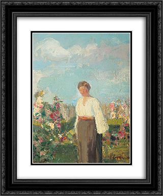 In the Garden with Flowers 20x24 Black or Gold Ornate Framed and Double Matted Art Print by Arthur Verona