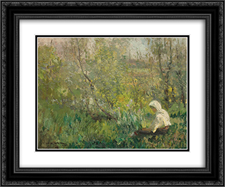 Peasant Woman Resting 24x20 Black or Gold Ornate Framed and Double Matted Art Print by Arthur Verona