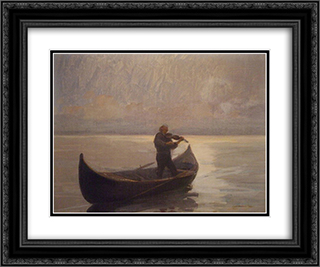 Violinist in a Boat 24x20 Black or Gold Ornate Framed and Double Matted Art Print by Arthur Verona