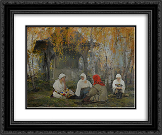 Women Assembly 24x20 Black or Gold Ornate Framed and Double Matted Art Print by Arthur Verona