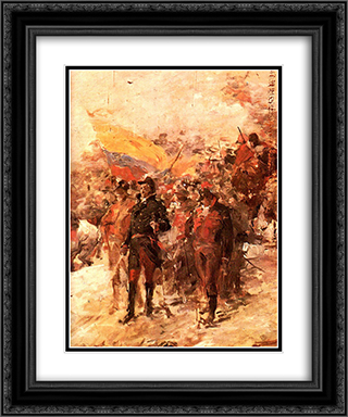 Bolivar en el paso de los andes 20x24 Black or Gold Ornate Framed and Double Matted Art Print by Arturo Michelena