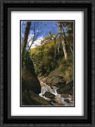Cascada de Catuche 18x24 Black or Gold Ornate Framed and Double Matted Art Print by Arturo Michelena