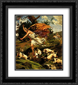 Diana cazadora 20x22 Black or Gold Ornate Framed and Double Matted Art Print by Arturo Michelena