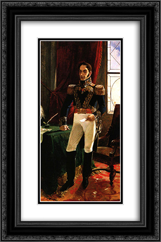 El Libertador en traje de campana 16x24 Black or Gold Ornate Framed and Double Matted Art Print by Arturo Michelena