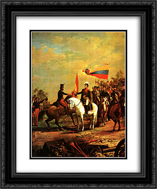 Entrega de la bandera al Batallon sin Nombre 20x24 Black or Gold Ornate Framed and Double Matted Art Print by Arturo Michelena