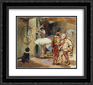 Escenas del circo 22x20 Black or Gold Ornate Framed and Double Matted Art Print by Arturo Michelena