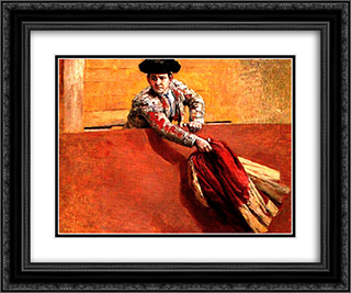 Estudio de torero para la vara rota 24x20 Black or Gold Ornate Framed and Double Matted Art Print by Arturo Michelena