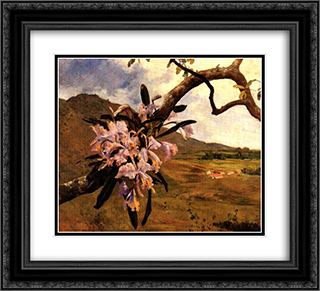 Flores de mayo y paisaje 22x20 Black or Gold Ornate Framed and Double Matted Art Print by Arturo Michelena