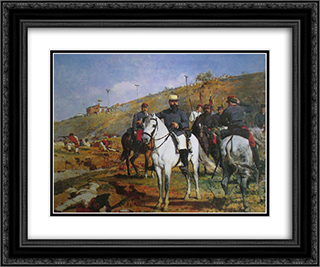 Joaquin Crespo en la Batalla de Los Colorados 24x20 Black or Gold Ornate Framed and Double Matted Art Print by Arturo Michelena