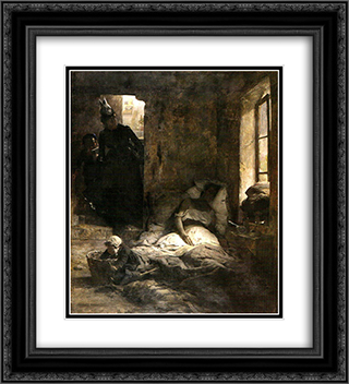 La caridad 20x22 Black or Gold Ornate Framed and Double Matted Art Print by Arturo Michelena