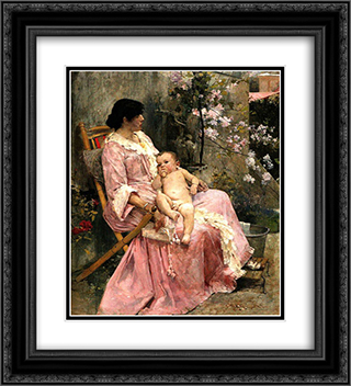 La joven madre 20x22 Black or Gold Ornate Framed and Double Matted Art Print by Arturo Michelena