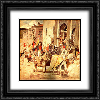 Llegada de El Libertador al templo de San Francisco 20x20 Black or Gold Ornate Framed and Double Matted Art Print by Arturo Michelena