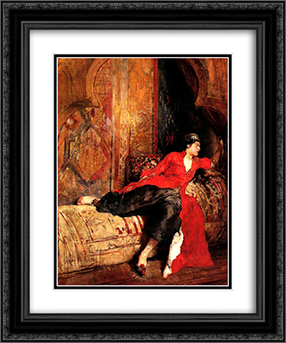 Mujer Oriental 20x24 Black or Gold Ornate Framed and Double Matted Art Print by Arturo Michelena