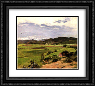 Paisaje del Paraiso 22x20 Black or Gold Ornate Framed and Double Matted Art Print by Arturo Michelena