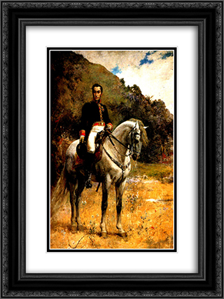 Retrato ecuestre de Bolivar 18x24 Black or Gold Ornate Framed and Double Matted Art Print by Arturo Michelena