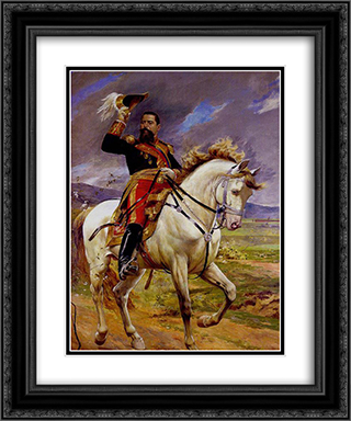 Retrato ecuestre del General Joaquin Crespo 20x24 Black or Gold Ornate Framed and Double Matted Art Print by Arturo Michelena