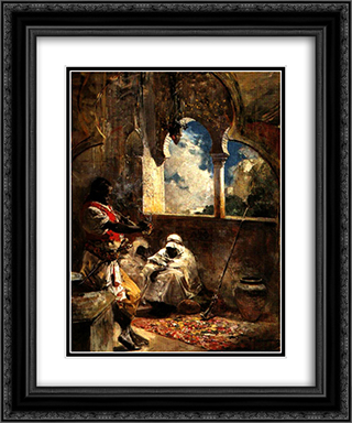 Soldados Arabes 20x24 Black or Gold Ornate Framed and Double Matted Art Print by Arturo Michelena