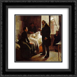 The Sick Child 20x20 Black or Gold Ornate Framed and Double Matted Art Print by Arturo Michelena