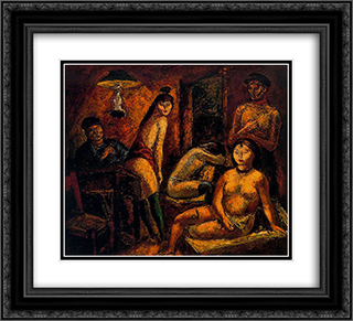 Sailors and nudes 22x20 Black or Gold Ornate Framed and Double Matted Art Print by Arturo Souto