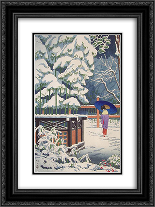 A Bamboo in the Shrine 18x24 Black or Gold Ornate Framed and Double Matted Art Print by Asano Takeji