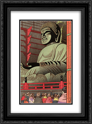 Big Buddha Of Todaiji Temple 18x24 Black or Gold Ornate Framed and Double Matted Art Print by Asano Takeji