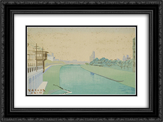 Distant View of Shijo in the Early Morning 24x18 Black or Gold Ornate Framed and Double Matted Art Print by Asano Takeji
