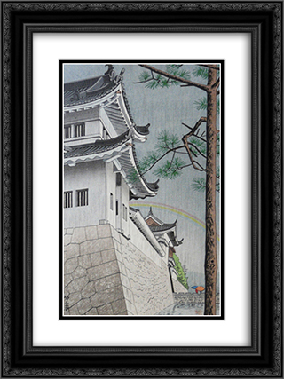 Drizzling Rain at Nijo Castle 18x24 Black or Gold Ornate Framed and Double Matted Art Print by Asano Takeji
