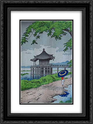 Drizzling Rain in Ukimido 18x24 Black or Gold Ornate Framed and Double Matted Art Print by Asano Takeji