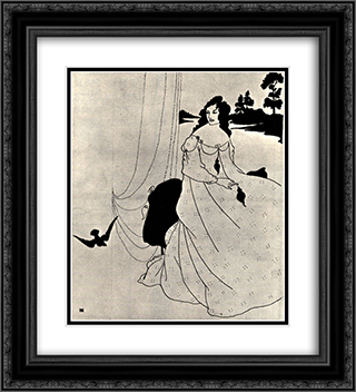 A Book of Fifty Drawings, front cover 20x22 Black or Gold Ornate Framed and Double Matted Art Print by Aubrey Beardsley