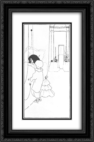 A Child at its Mother's Bed 16x24 Black or Gold Ornate Framed and Double Matted Art Print by Aubrey Beardsley
