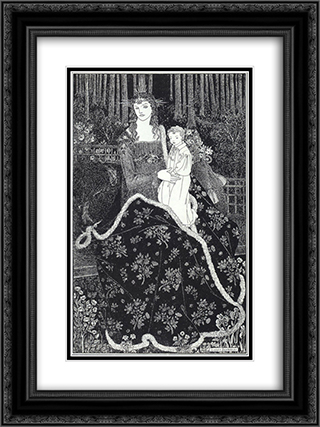 A large Christmas Card 18x24 Black or Gold Ornate Framed and Double Matted Art Print by Aubrey Beardsley