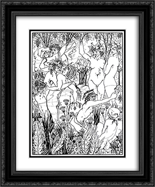 A Snare of Vintage 20x24 Black or Gold Ornate Framed and Double Matted Art Print by Aubrey Beardsley